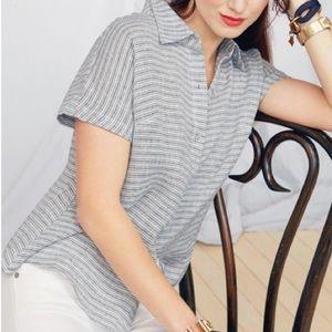 cabi 5257 linen blend button down shirt